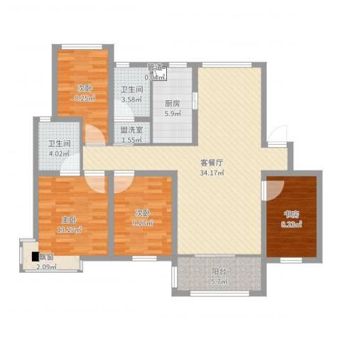 天一家园4室2厅2卫1厨117.00㎡户型图