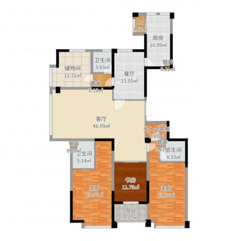 宁海世贸中心3室1厅3卫1厨209.00㎡户型图