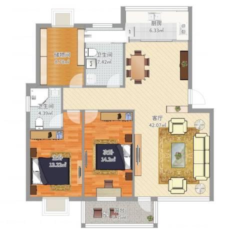天水家园2室1厅2卫1厨127.00㎡户型图