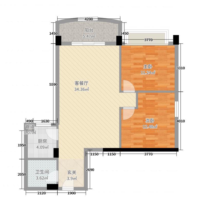 流溪半岛89.00㎡C2栋07单元户型2室2厅1卫1厨