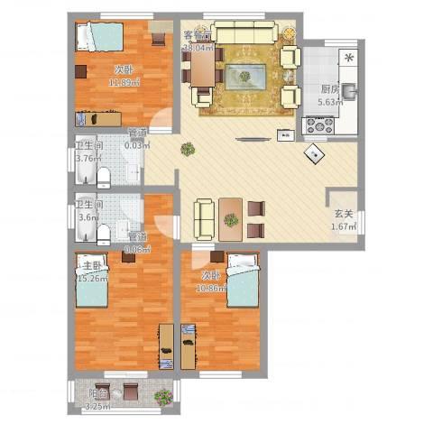 五龙花园3室2厅2卫1厨132.00㎡户型图