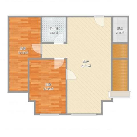 上上城第三季2室1厅1卫1厨74.00㎡户型图
