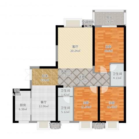 广厦水岸东方3室2厅2卫1厨143.00㎡户型图