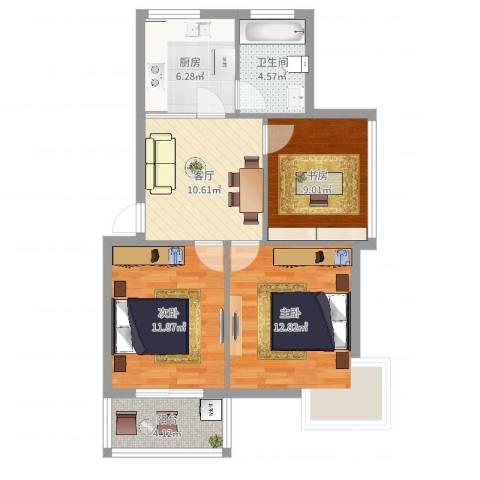 关爱小区3室1厅1卫1厨74.00㎡户型图