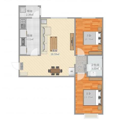 八家嘉苑2室1厅1卫1厨80.00㎡户型图