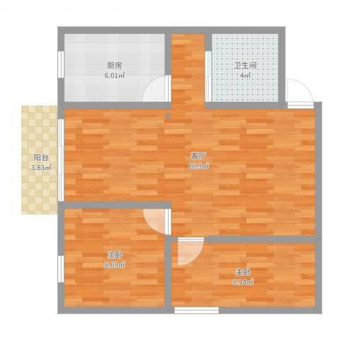 盈丰华轩2室1厅1卫1厨67.00㎡户型图