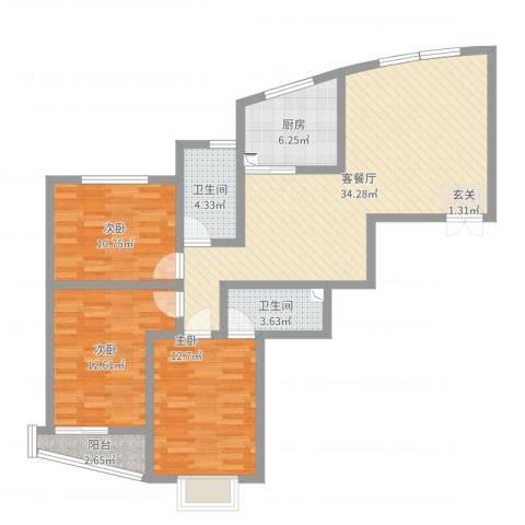 锦绣豪庭3室2厅2卫1厨109.00㎡户型图