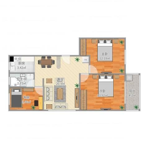 腾飞新城3室1厅1卫1厨80.00㎡户型图