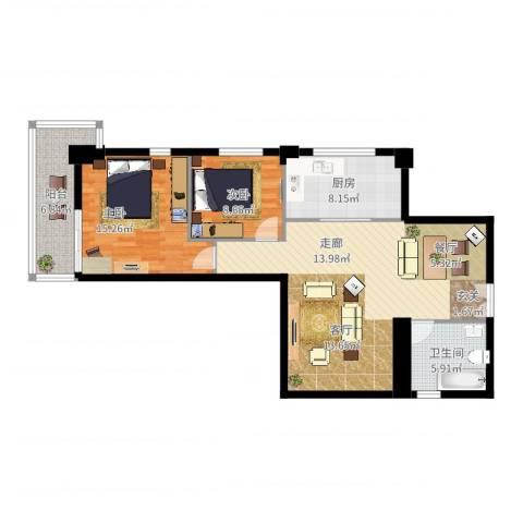 中天国际公寓2室2厅1卫1厨112.00㎡户型图