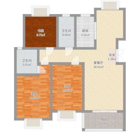 都市豪庭3室2厅2卫1厨125.00㎡户型图