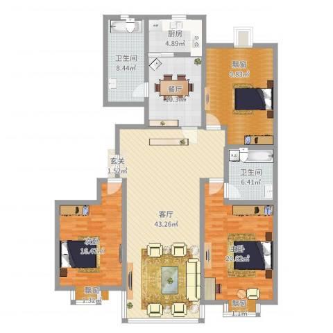 都市豪庭2室2厅2卫1厨159.00㎡户型图