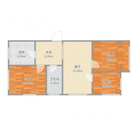 里仁街文化部回迁3室1厅1卫1厨74.00㎡户型图