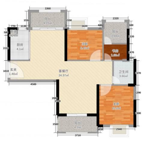 海伦印象3室2厅1卫1厨97.00㎡户型图