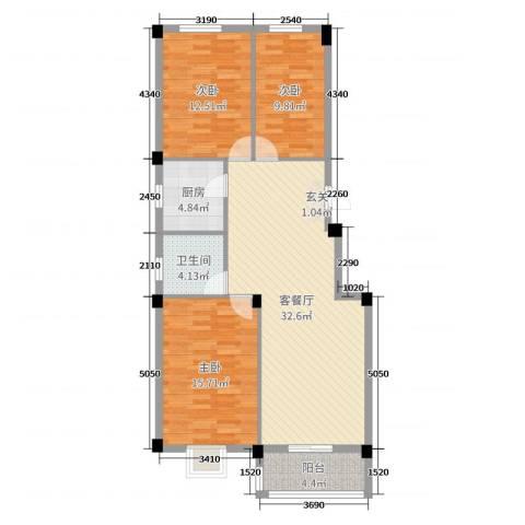蔡都国际3室2厅1卫1厨105.00㎡户型图
