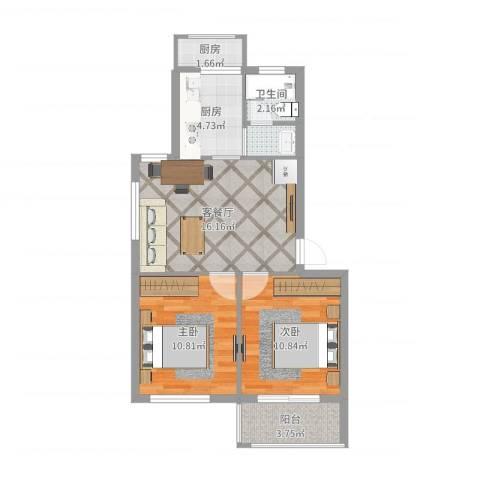 广厦怡庭2室2厅1卫2厨64.00㎡户型图