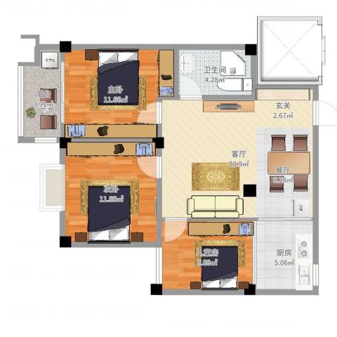 怡和丽景3室1厅1卫1厨86.00㎡户型图