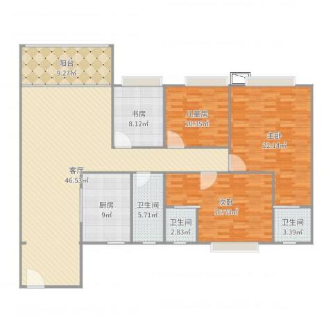 和富家园4室1厅3卫1厨168.00㎡户型图
