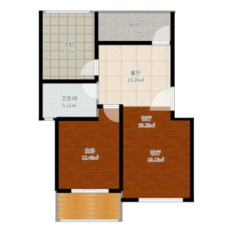 太阳城丹荔园2室1厅1卫1厨84.00㎡户型图