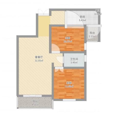 金色花语城2室2厅1卫1厨86.00㎡户型图