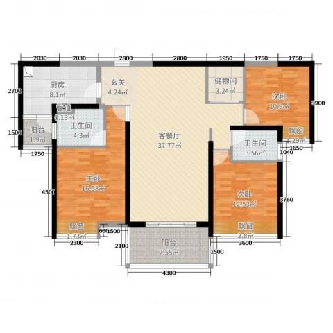 珠江・观澜御景3室2厅2卫1厨128.00㎡户型图