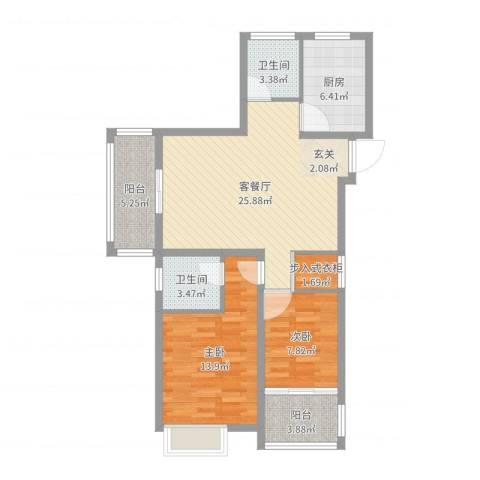 万邦金地花园2室2厅2卫1厨90.00㎡户型图