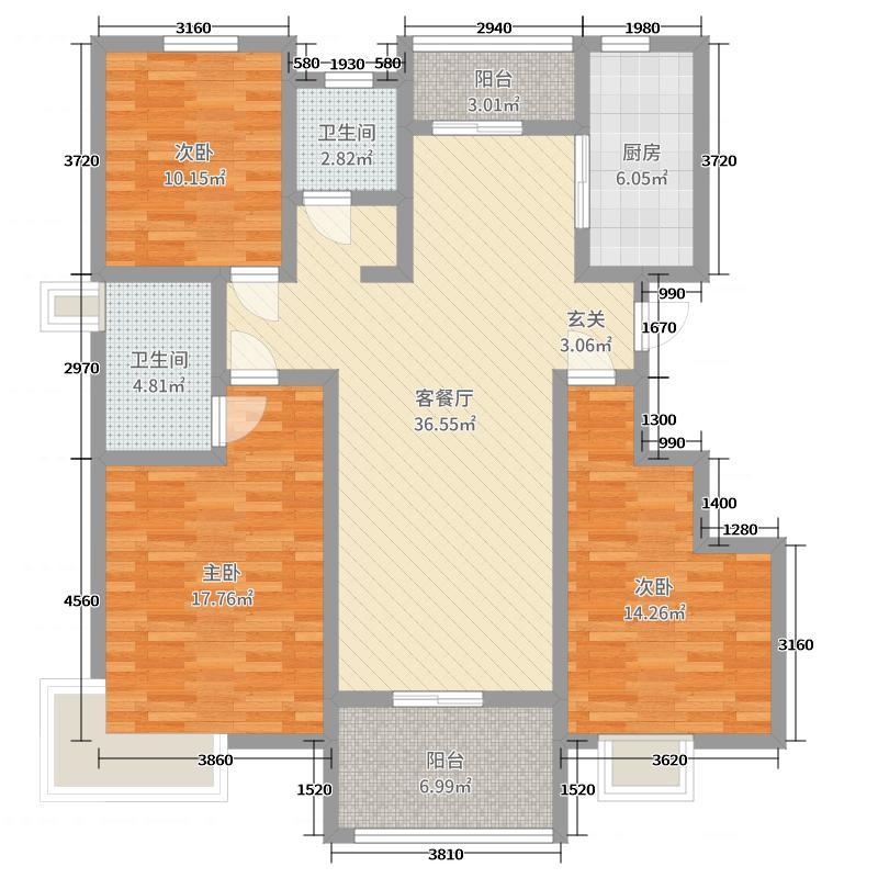 春城华庭127.68㎡户型3室3厅2卫1厨