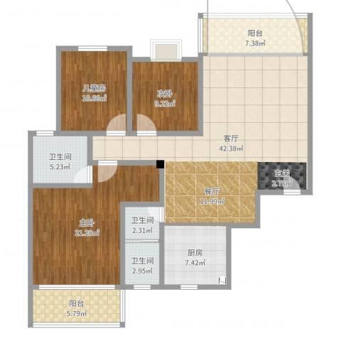 枫雅名苑3室1厅3卫1厨138.00㎡户型图