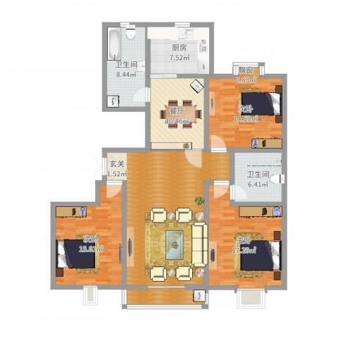 都市豪庭3室1厅2卫1厨144.00㎡户型图