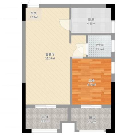中誉南岸公馆1室2厅1卫1厨58.00㎡户型图