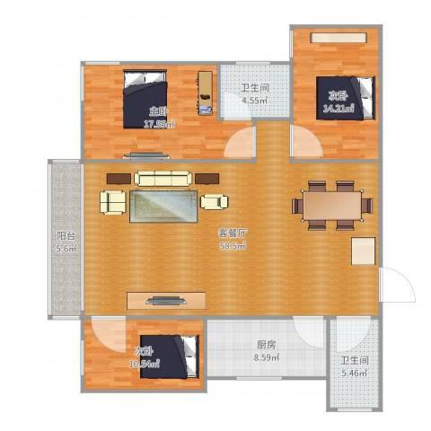 福邸雅苑3室2厅2卫1厨135.00㎡户型图