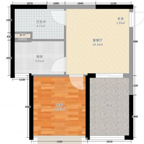 秦皇岛恒大城1室2厅1卫1厨55.00㎡户型图