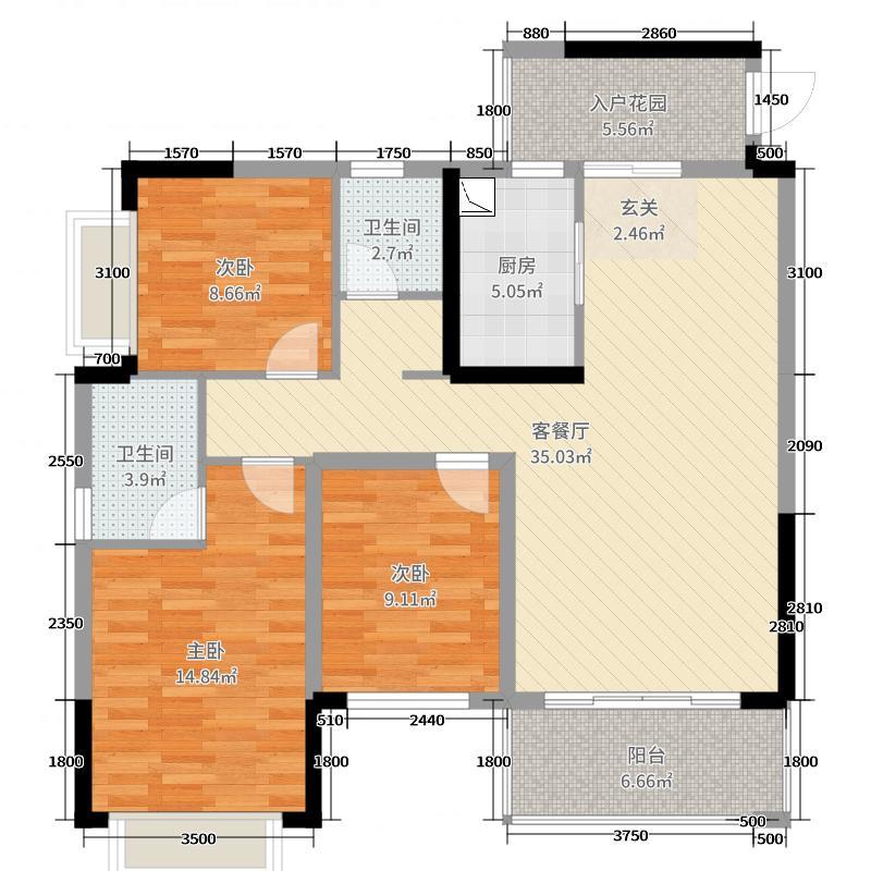 西江绿城・香榭里花园114.41㎡5#一单元042+户型2室2厅2卫1厨