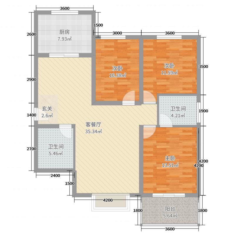 同德佳苑128.70㎡2户型3室3厅2卫1厨