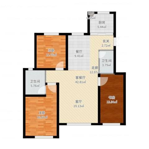 亨林名都3室2厅2卫1厨125.00㎡户型图