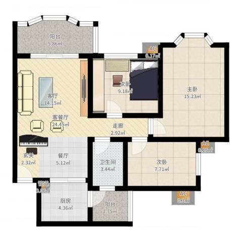 祈福新村康怡居3室2厅1卫1厨92.00㎡户型图