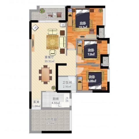 富川瑞园3室2厅1卫1厨105.00㎡户型图