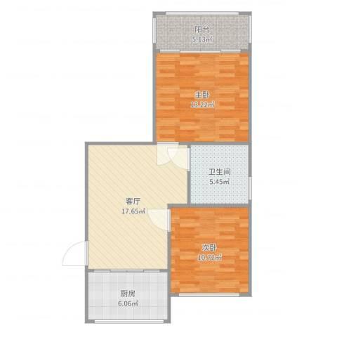 金沙家园2室1厅1卫1厨73.00㎡户型图