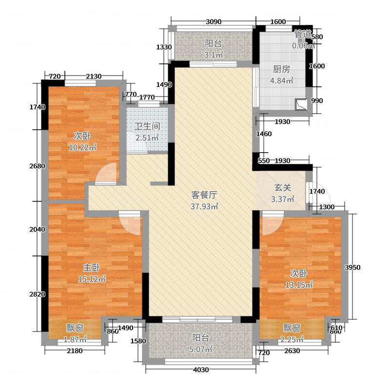 建业联盟新城(柘城)115.00㎡B户型3室3厅1卫1厨