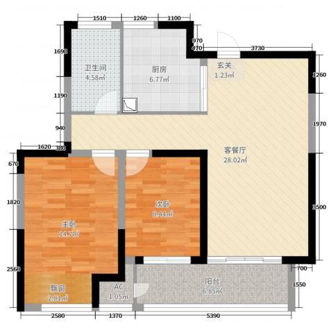 九龙仓时代上城2室2厅1卫1厨88.00㎡户型图