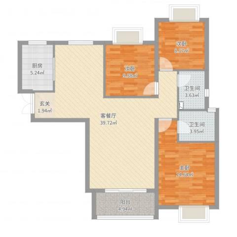 谈固国瑞城3室2厅2卫1厨112.00㎡户型图