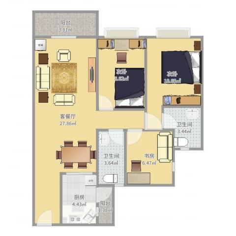 金都名苑(容桂)3室2厅2卫1厨88.00㎡户型图