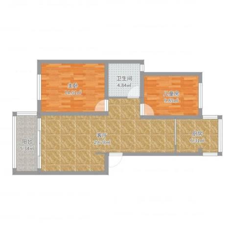 恒盛湖畔豪庭2室1厅1卫1厨88.00㎡户型图