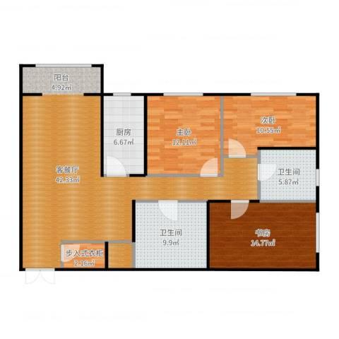 太铁迎春新区3室2厅2卫1厨132.00㎡户型图