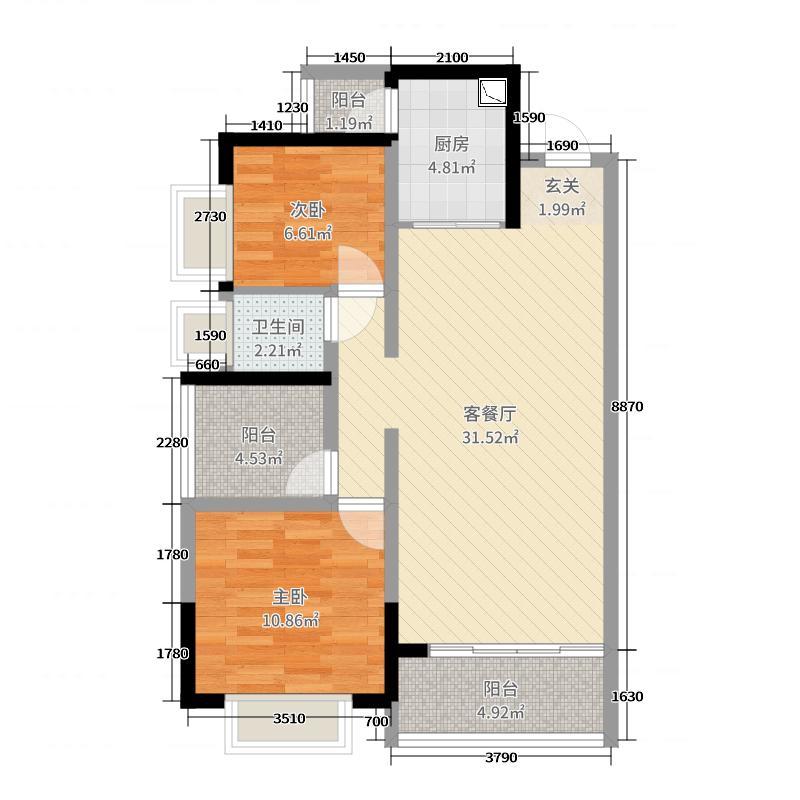 御江1号94.42㎡4栋04户型3室3厅1卫1厨