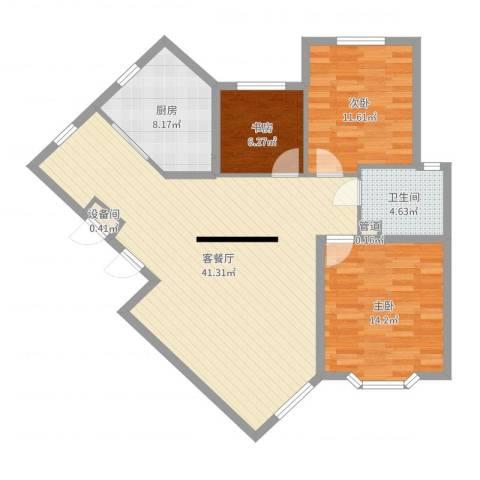 宏都筑景3室2厅1卫1厨108.00㎡户型图