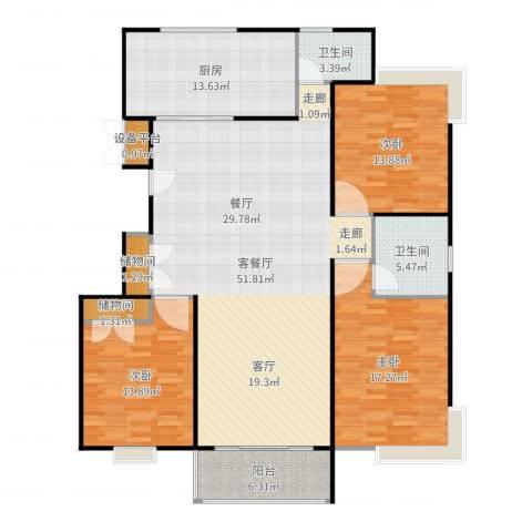 金铭福邸三期3室2厅2卫1厨162.00㎡户型图