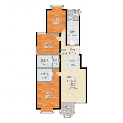 枫桦豪景(尾盘)3室2厅2卫1厨177.00㎡户型图