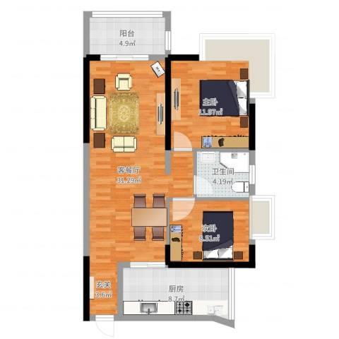 桥西苑2室2厅1卫1厨87.00㎡户型图