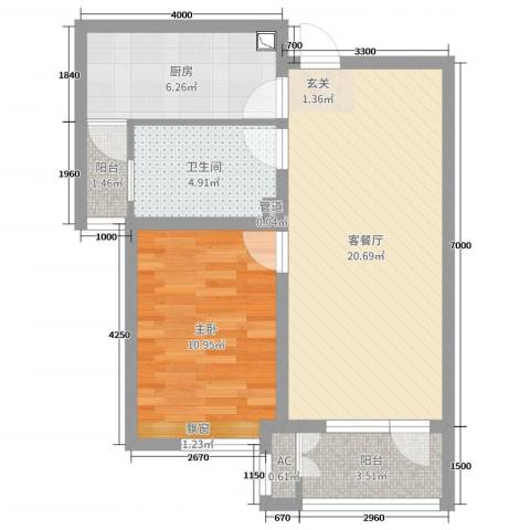 铂悦山1室2厅1卫1厨67.00㎡户型图