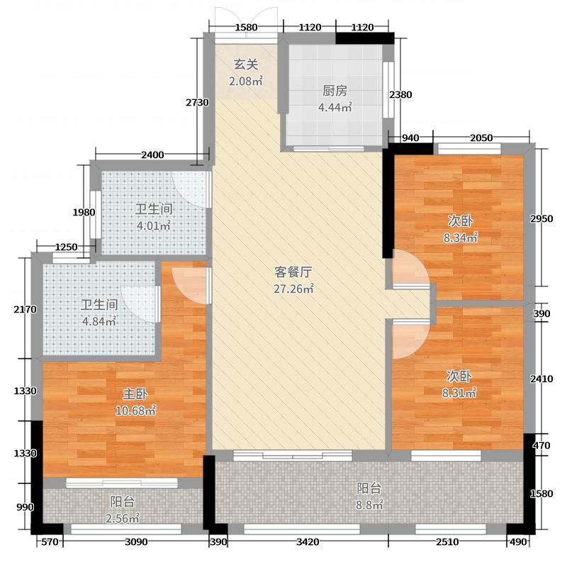 湘水郡102.49㎡8-2户型3室3厅2卫1厨